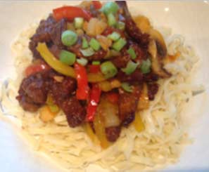 Crispy chilli beef with noodles