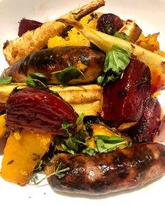 Roasted Beets, Squash & Sweet Potatoes + Sausages