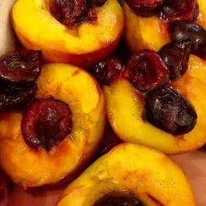 Baked Nectarines with Cherries & Vanilla Cream