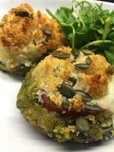 Mozzarella stuffed portobello mushrooms