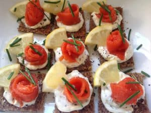 Smoked Salmon on Rye bread Canapés