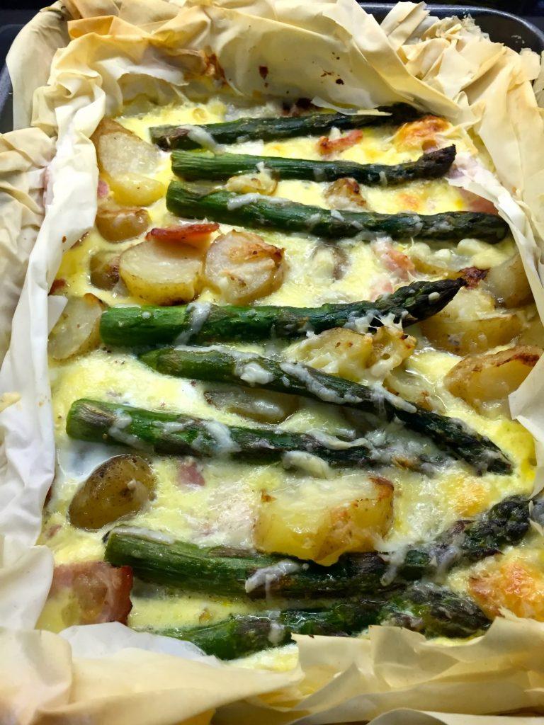 Asparagus & Jersey Royals Filo Tart