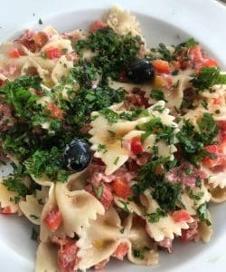 Pasta Salad with Salami, Roquefort & Black Olives