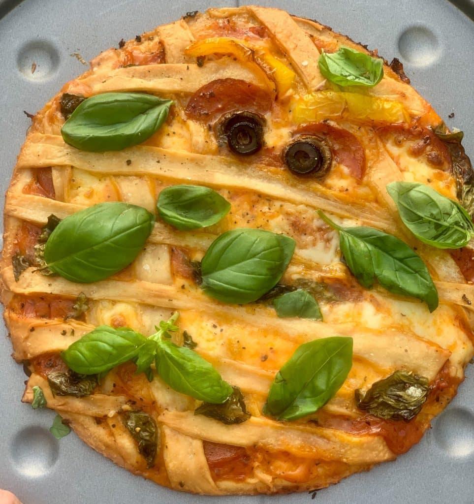 Halloween Pizza - baked