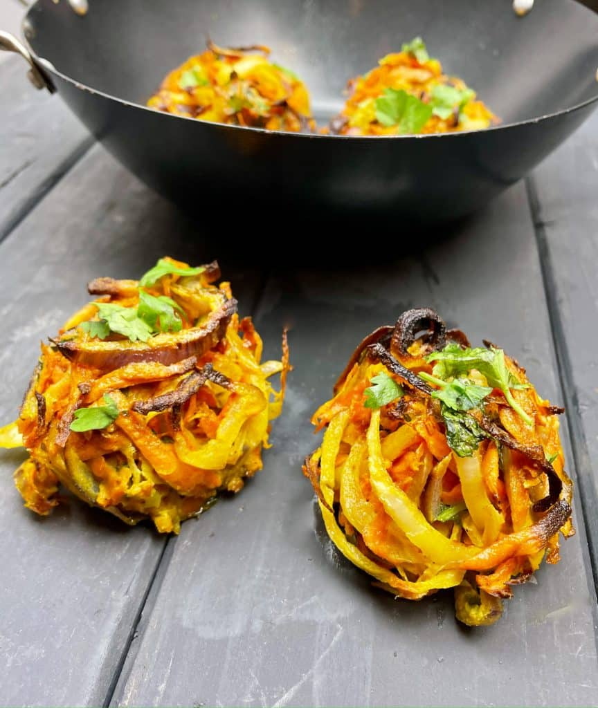 Healthy Onion Bhaji - served