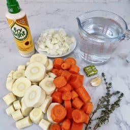 Carrot & Parsnip Soup - ingredients laid out
