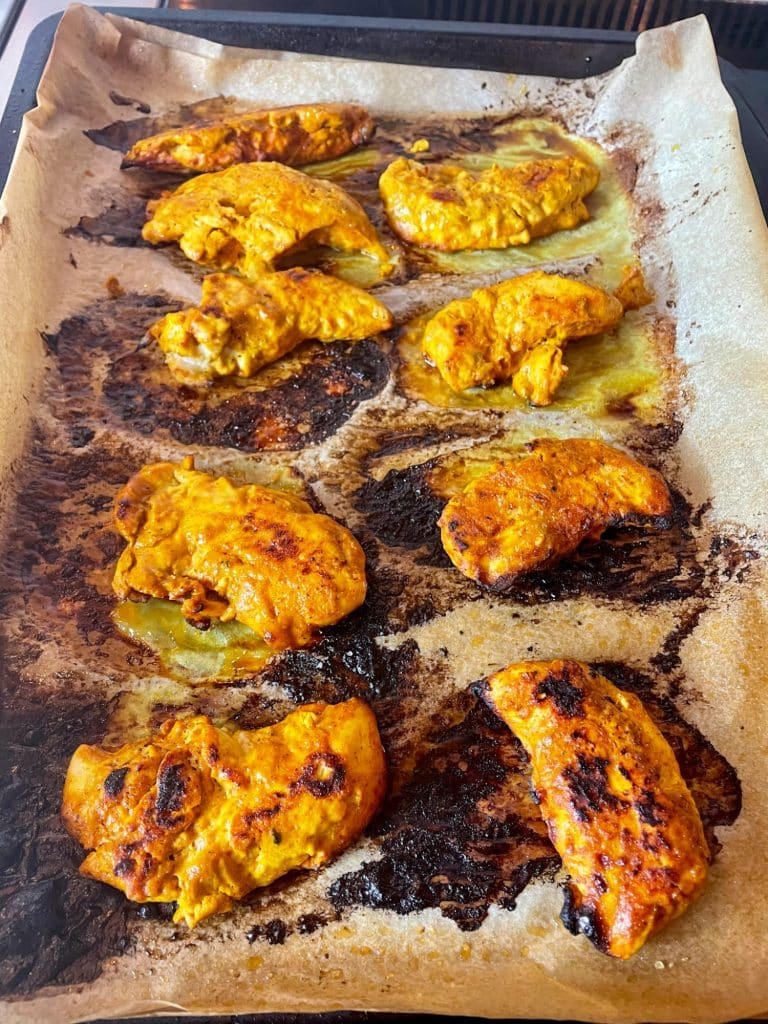 Tandoori Chicken, fillets baked on a sheet pan
